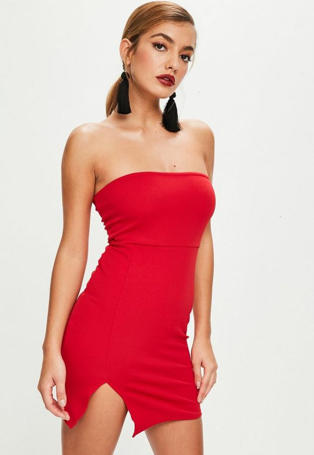 petite red scuba mini dress