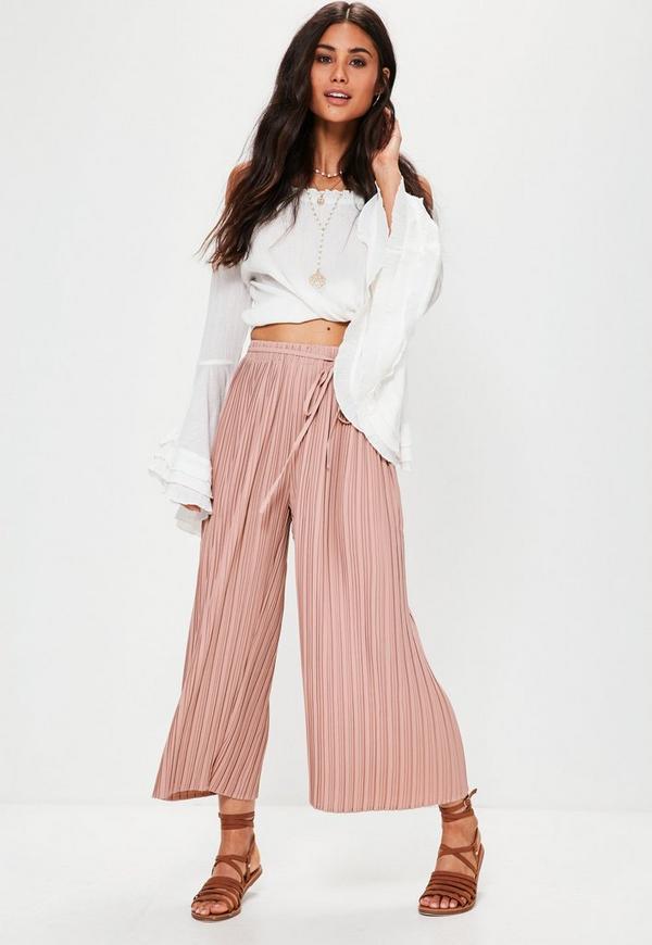 Petite pink pleated skinny tie belt culottes