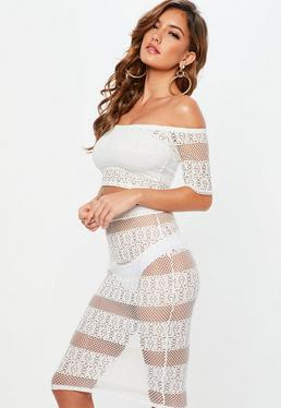 Petite White Crochet Midi Skirt