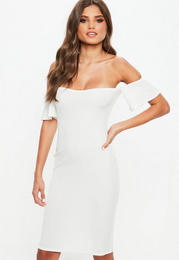 Petite White Bardot Midi Dress