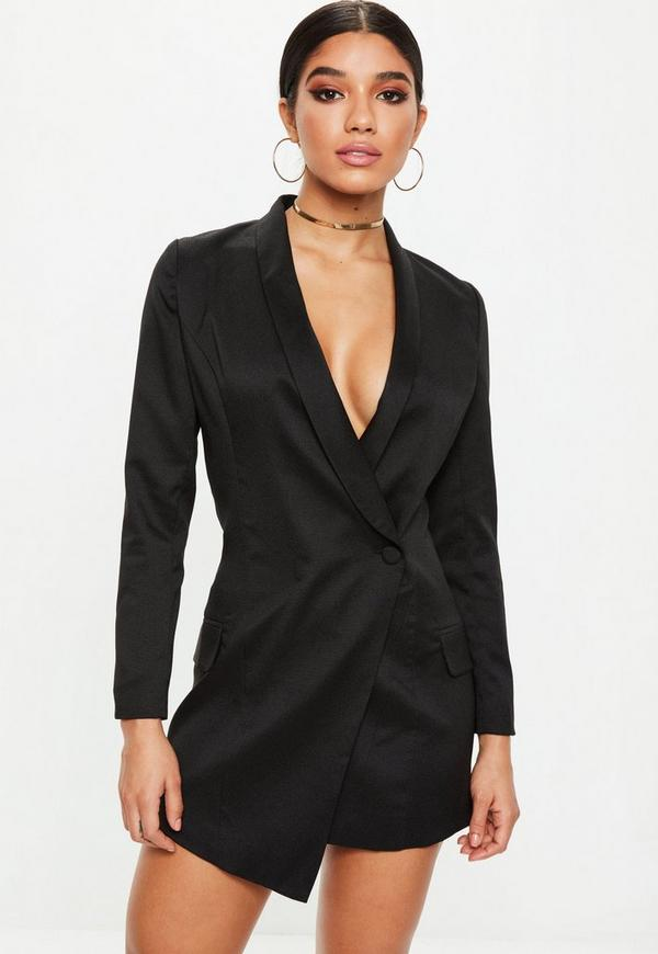 Petite Black Blazer Dress Missguided