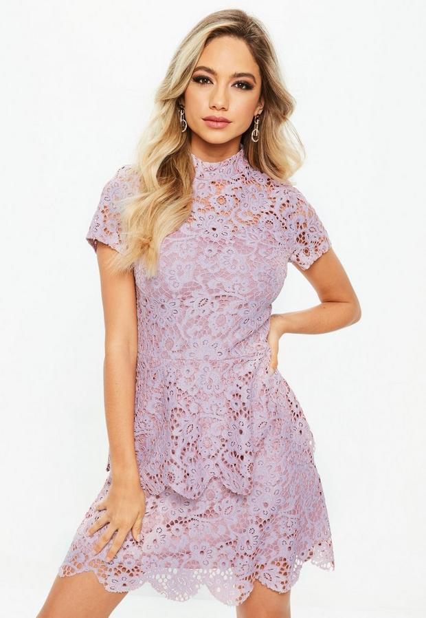 Missguided - Petite Lilac Short Sleeve Lace High Neck Dress, Blush - 1