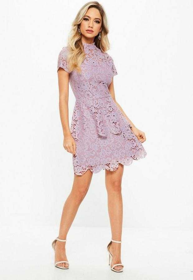 Missguided - Petite Lilac Short Sleeve Lace High Neck Dress, Blush - 2