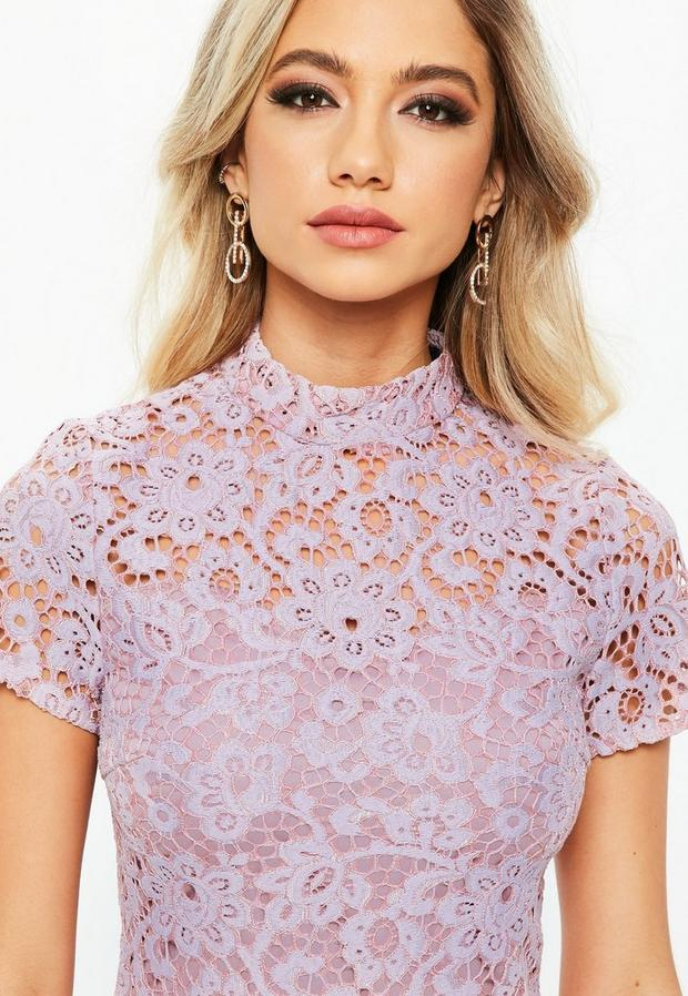 Missguided - Lilac Short Sleeve Lace High Neck Dress - 3