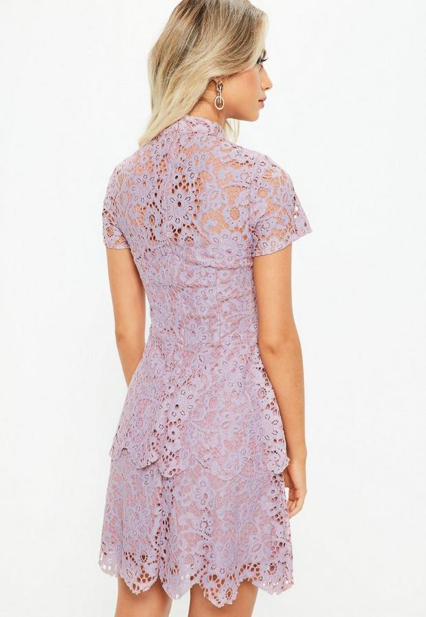 Missguided - Petite Lilac Short Sleeve Lace High Neck Dress, Blush - 4