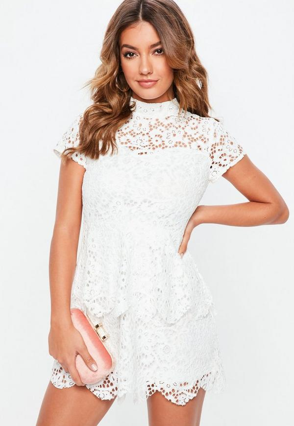 Petite White Short Sleeve Lace High Neck Dress by Missguided
