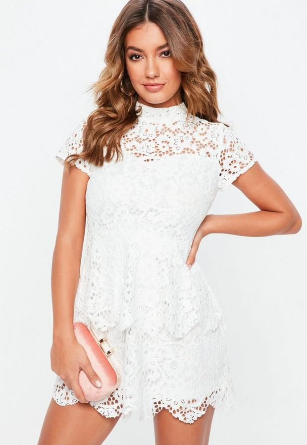 petite white short sleeve lace high neck dress