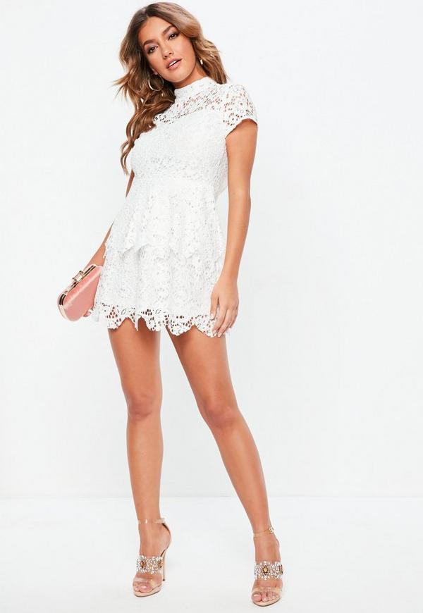 Petite White Short Sleeve Lace High Neck Dress. Previous Next 979c04d9b