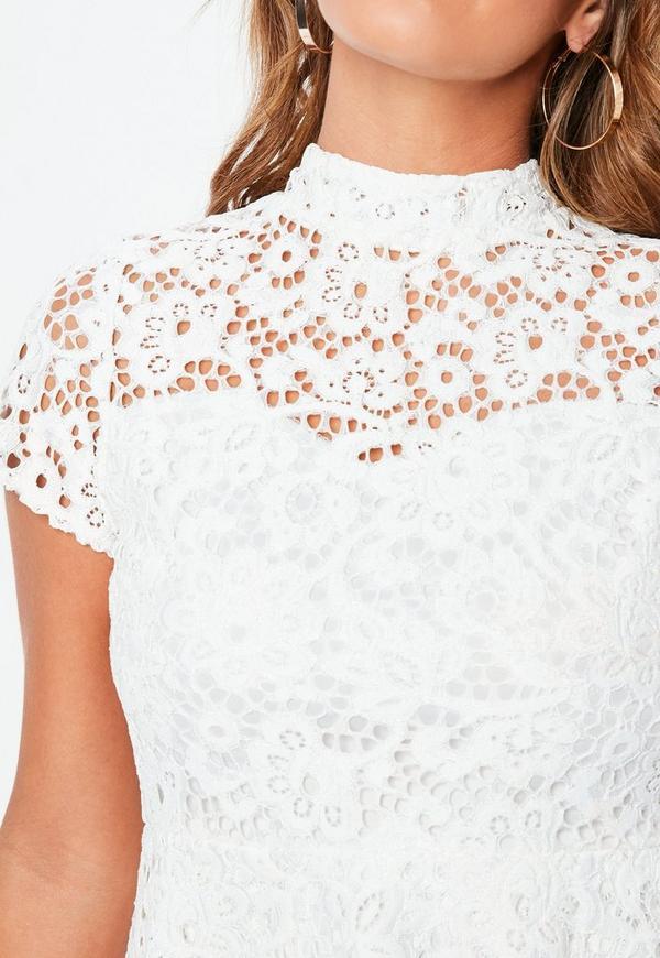f9867062b4 Petite White Short Sleeve Lace High Neck Dress. Previous Next