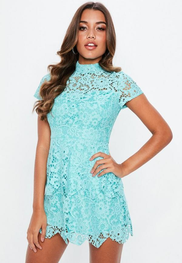 Petite blue short sleeve lace high neck dress
