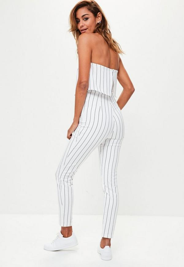 988a3f8e7ef3 MISSGUIDED. PETITE WHITE BANDEAU DOUBLE LAYER JUMPSUIT