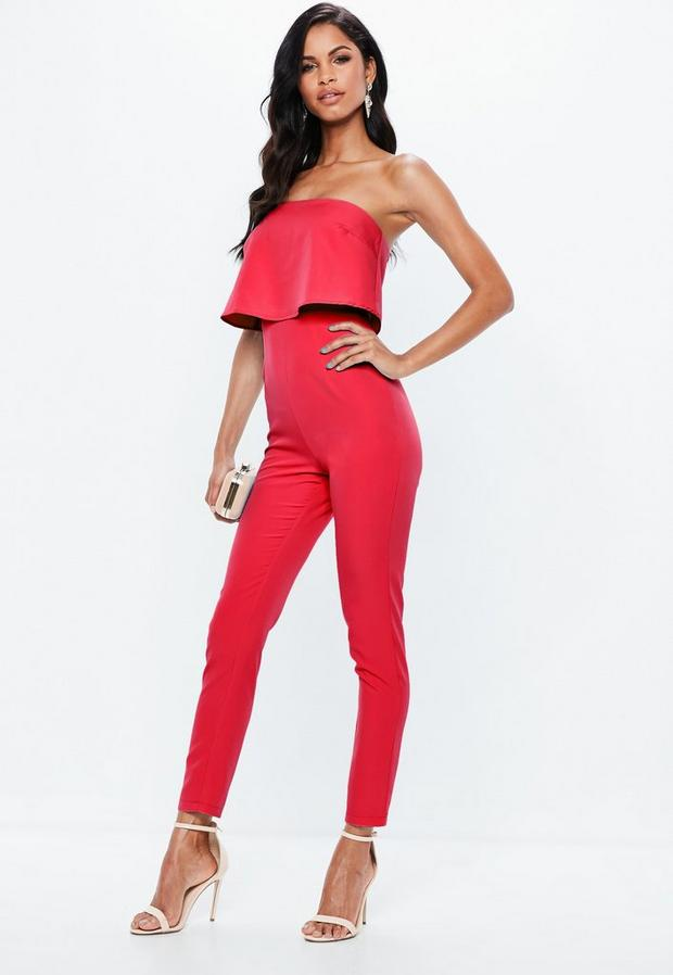 Red Petite Bandeau Double Layer Playsuit
