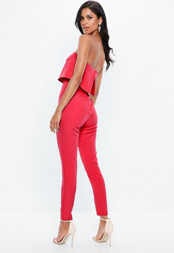 399fbb571f29 Red Petite Bandeau Double Layer Playsuit