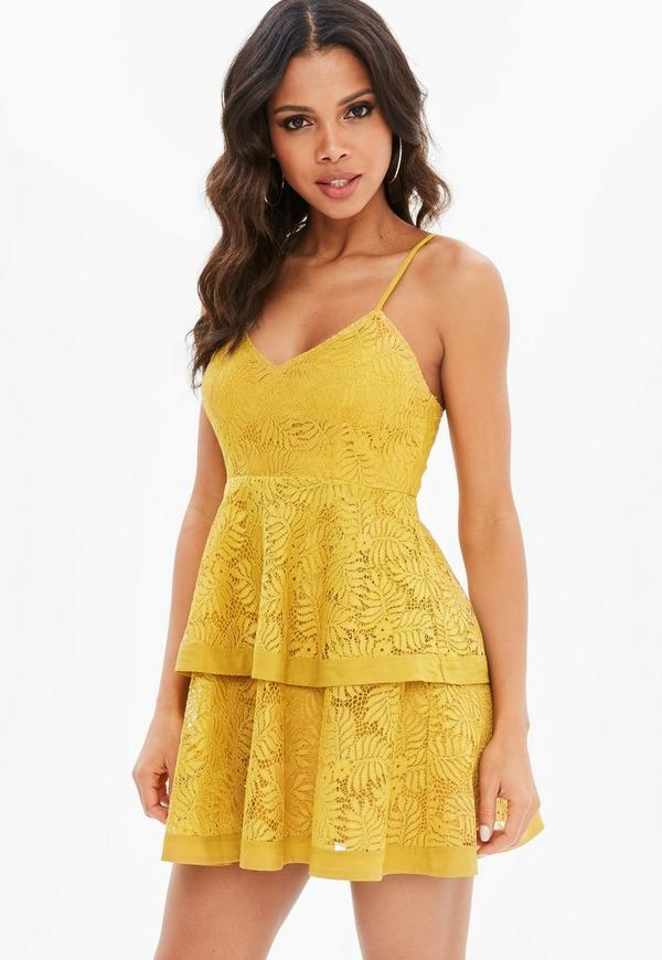 Petite Yellow Lace Tiered Cami Dress