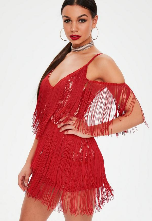 Petite red lace tassel fringe dress