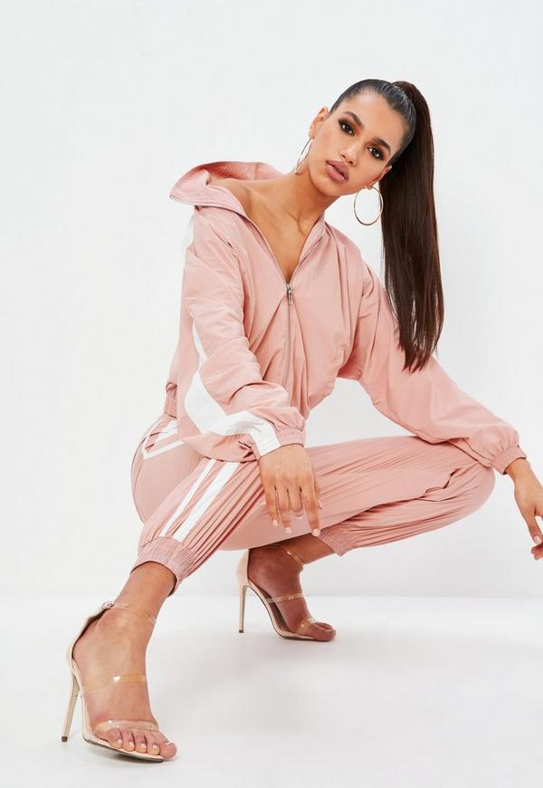 Petite Pink Shell Suit Double Side Stripe Pants