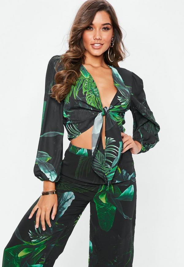 Petite green palm print tie front crop top