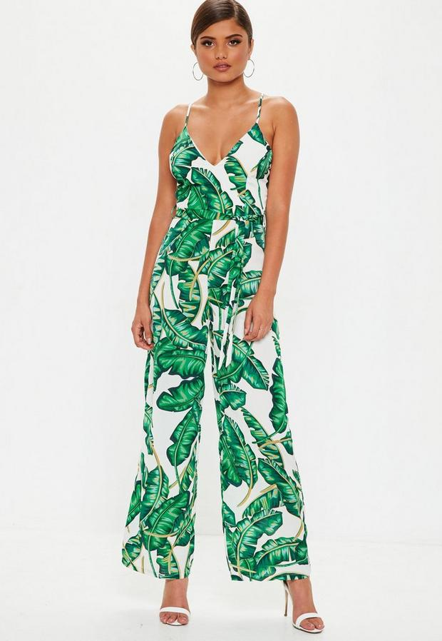 petite green palm romper