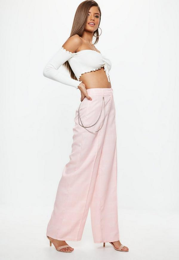 Petite Pink Plaid Chain Wide Leg Pants