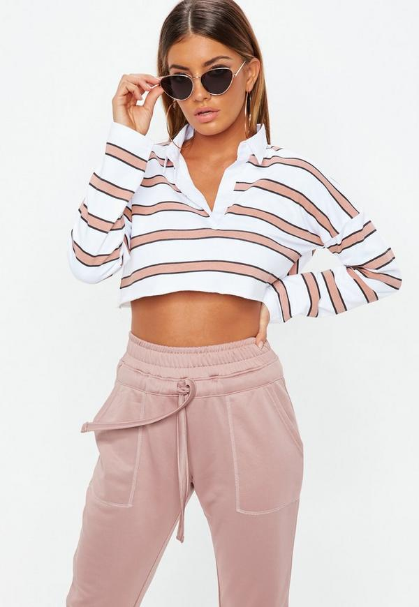 Petite White Striped Cropped Rugby Top