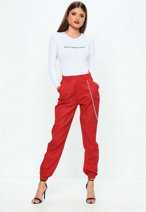 Petite Red Chain Detail Cargo Pants