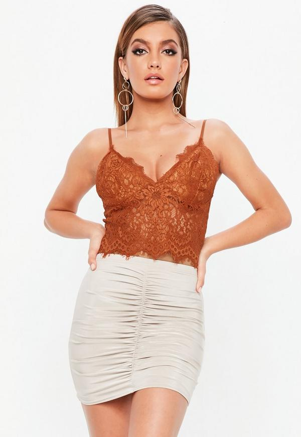 Petite orange lace bralette