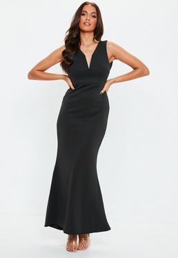 3683e0a1b98 ... Petite Black V Plunge Scuba Maxi Dress