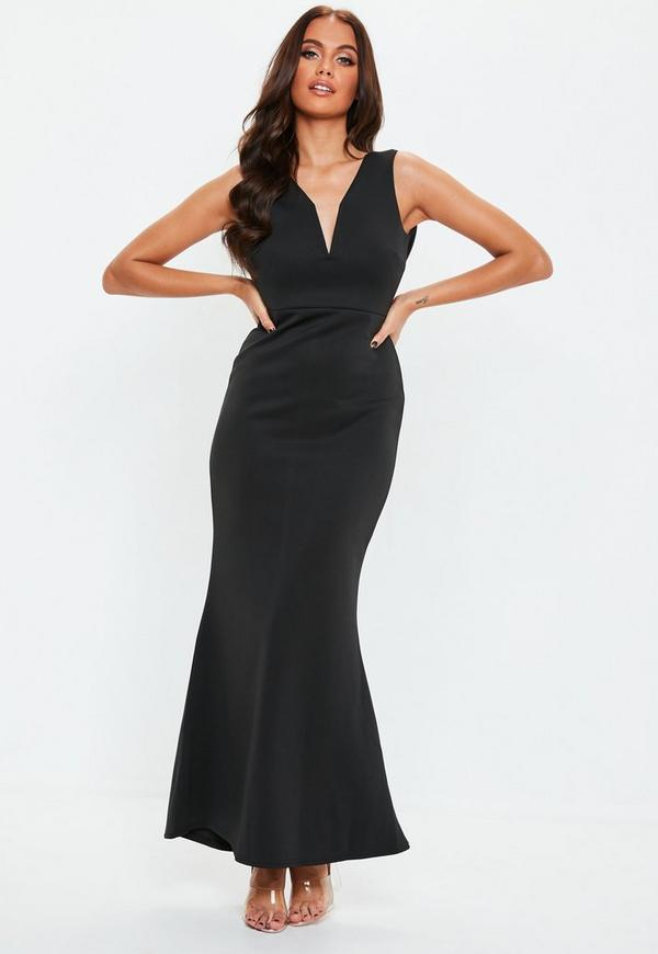 Petite black v plunge scuba maxi dress