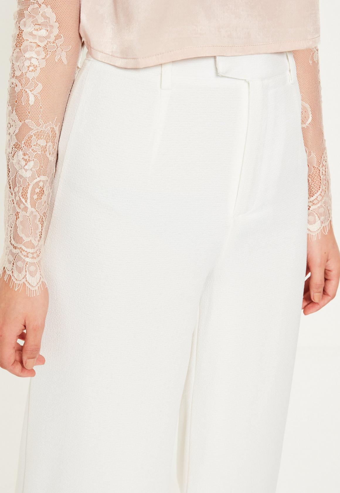 Missguided Petite White Premium Crepe Wide Leg Trousers, White at ... 2d06b38d6200