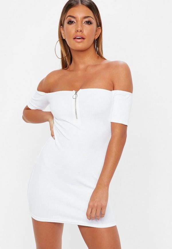 Petite White Zip Front Ribbed Bardot Dress