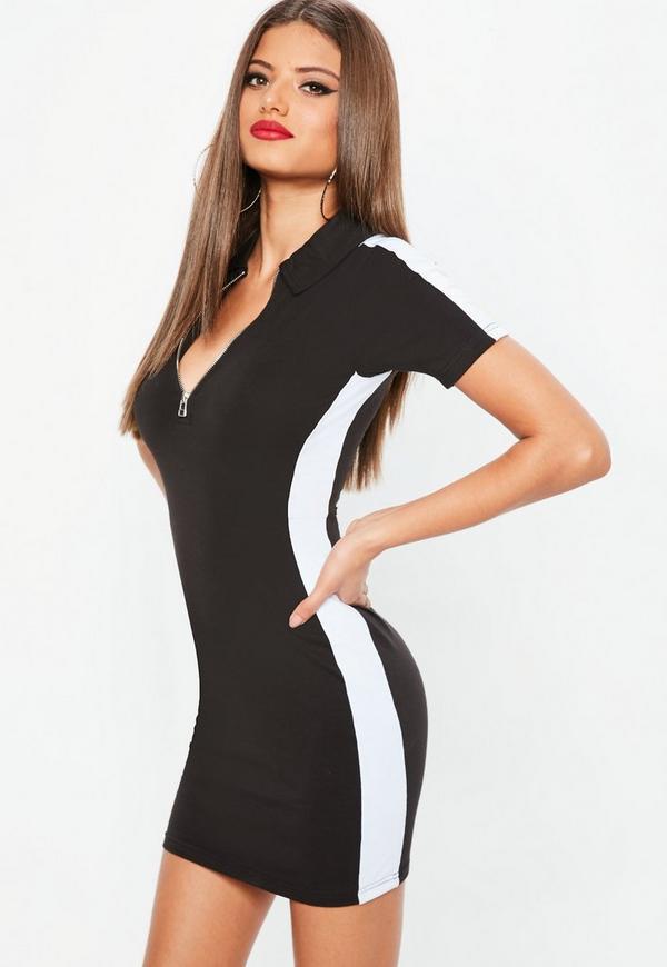 Petite Black Zip Colorblock Rugby Dress