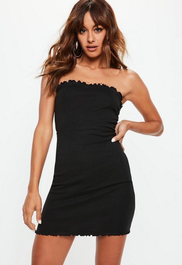 Petite black ribbed bandeau lettuce hem dress