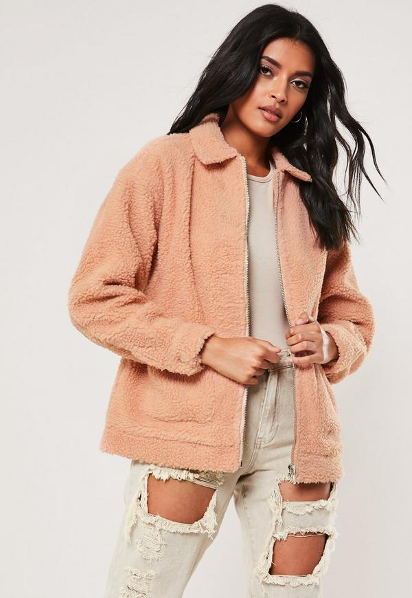 Petite Pink Teddy Coat