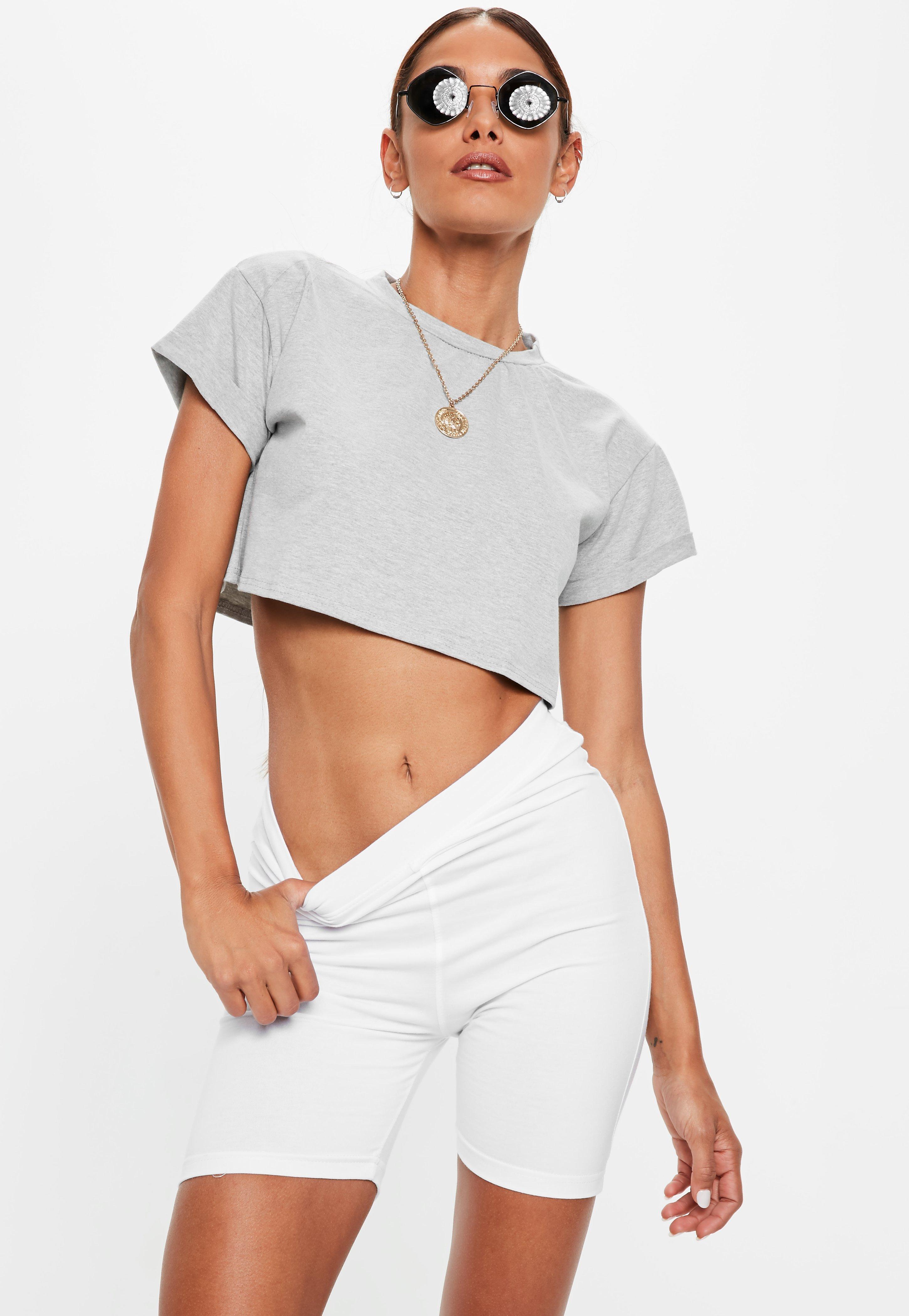 Petite Gray Roll Sleeve Crop Top