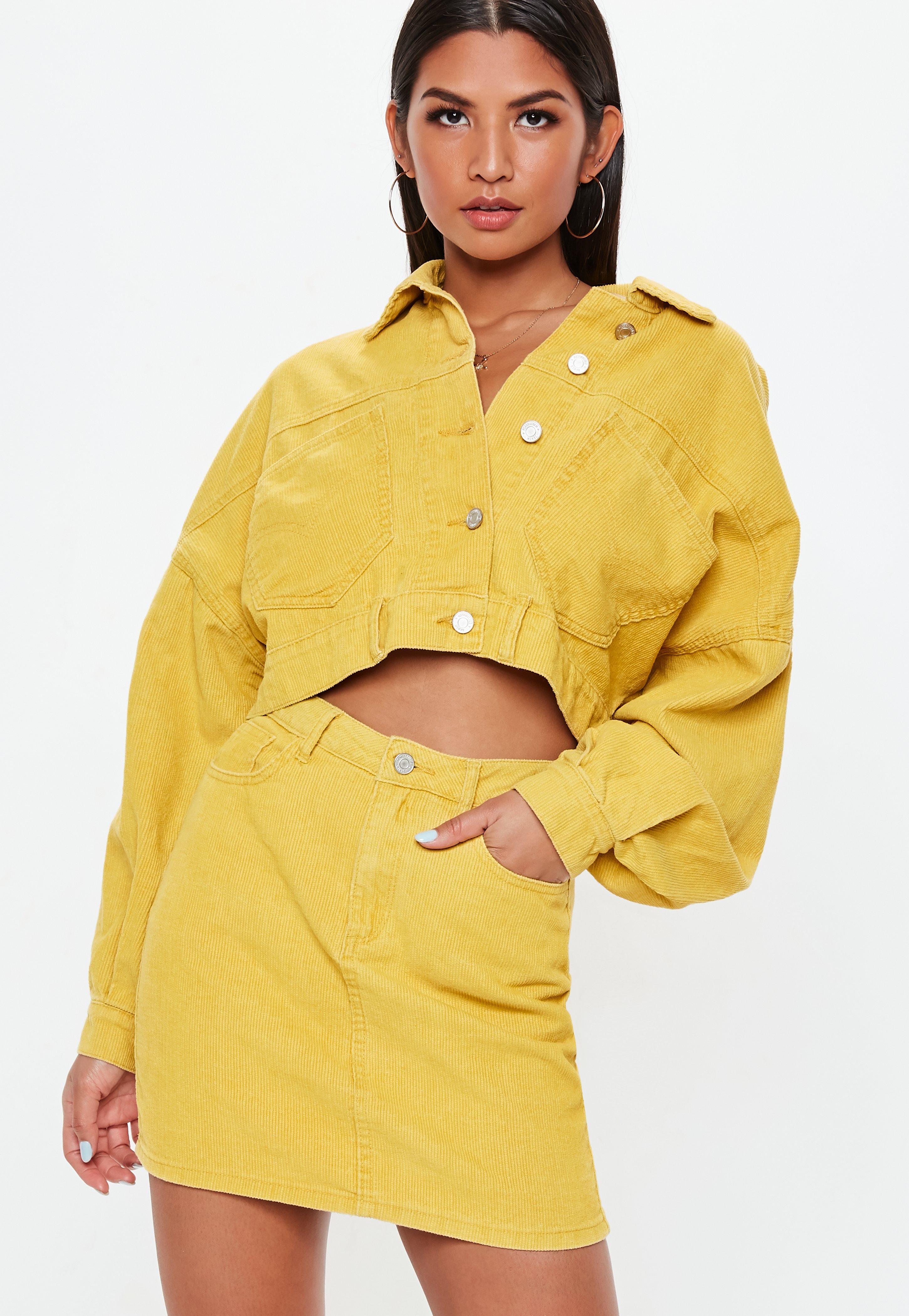 dd406a308 Petite Mustard A Line Cord Mini Skirt   Missguided