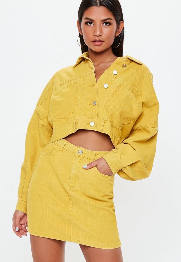 Petite Mustard A Line Cord Mini Skirt