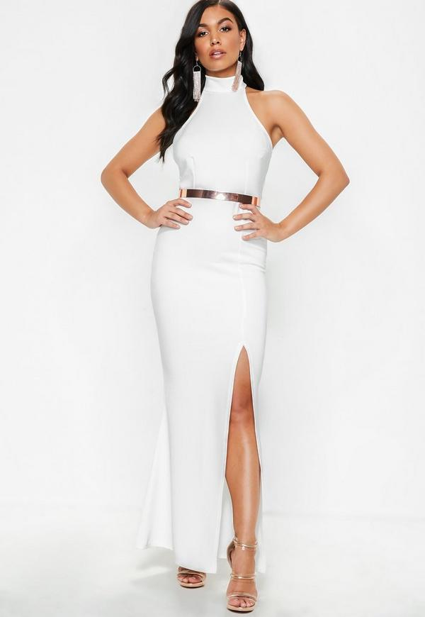 Petite White Racer Back Maxi Dress