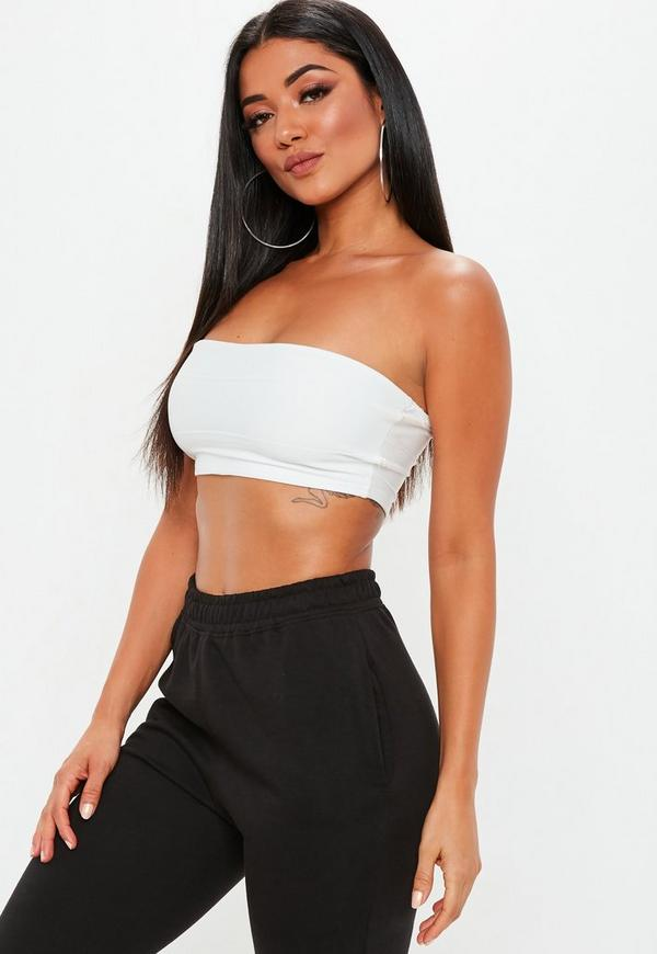 White Petite Bandage Ribbed Bandeau Top