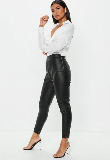 Petite Black Side Zip Faux Leather Trousers Missguided