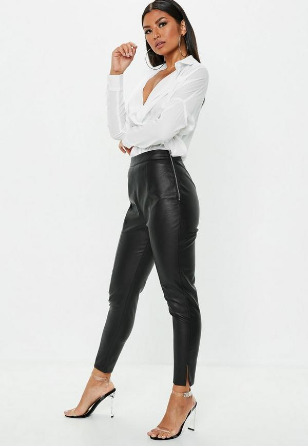 Petite Black Side Zip Faux Leather Pants