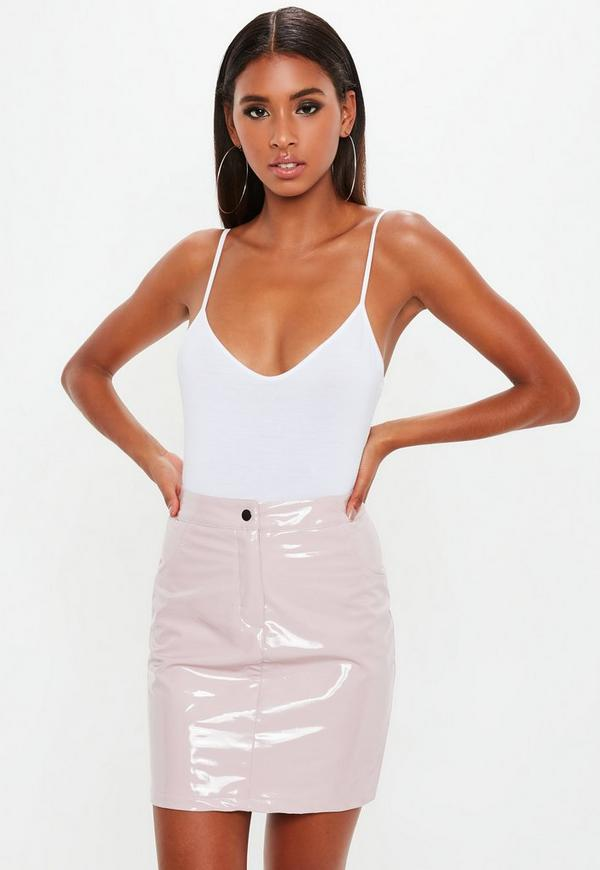 6bf4052e099 Petite Pink Vinyl Mini Skirt by Missguided