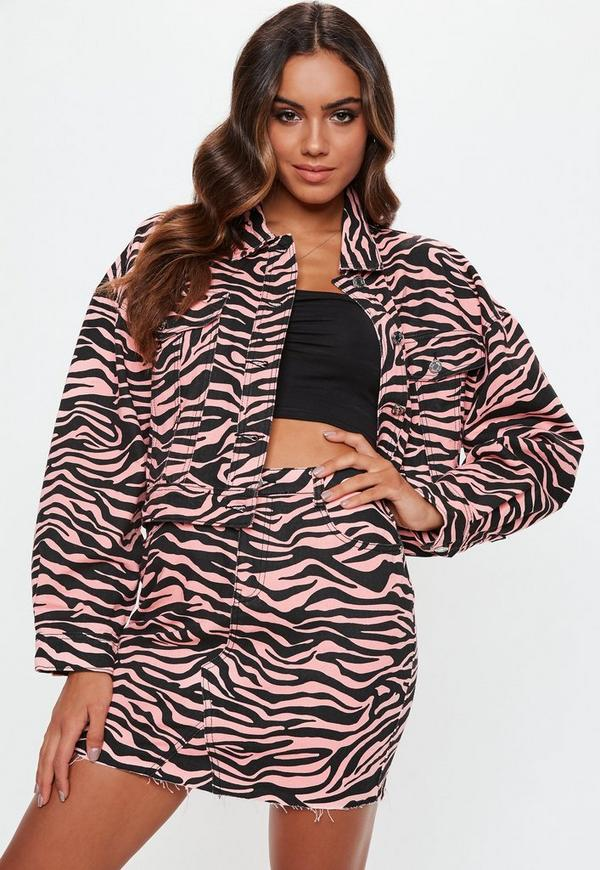 Petite Pink Zebra Print Denim Skirt