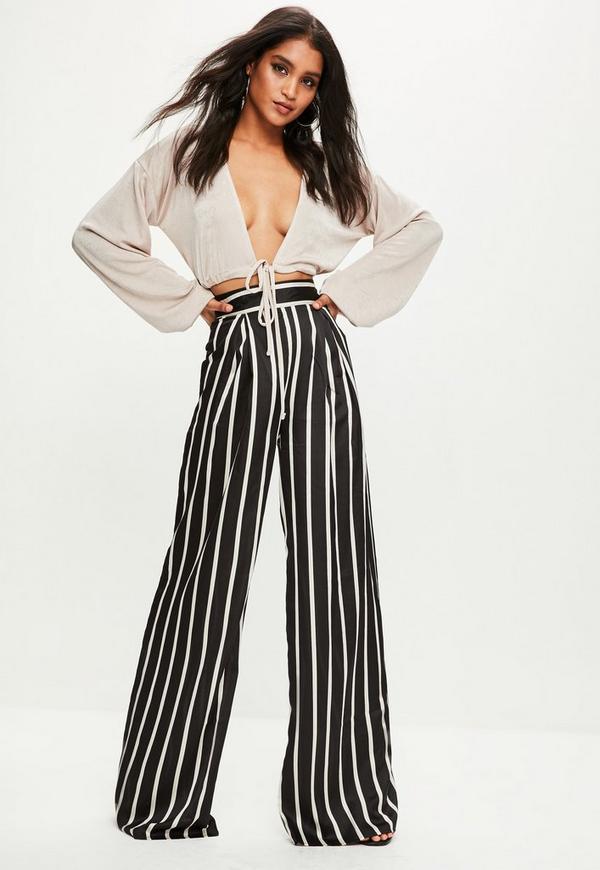 Black Petite Satin Stripe Wide Leg Pants