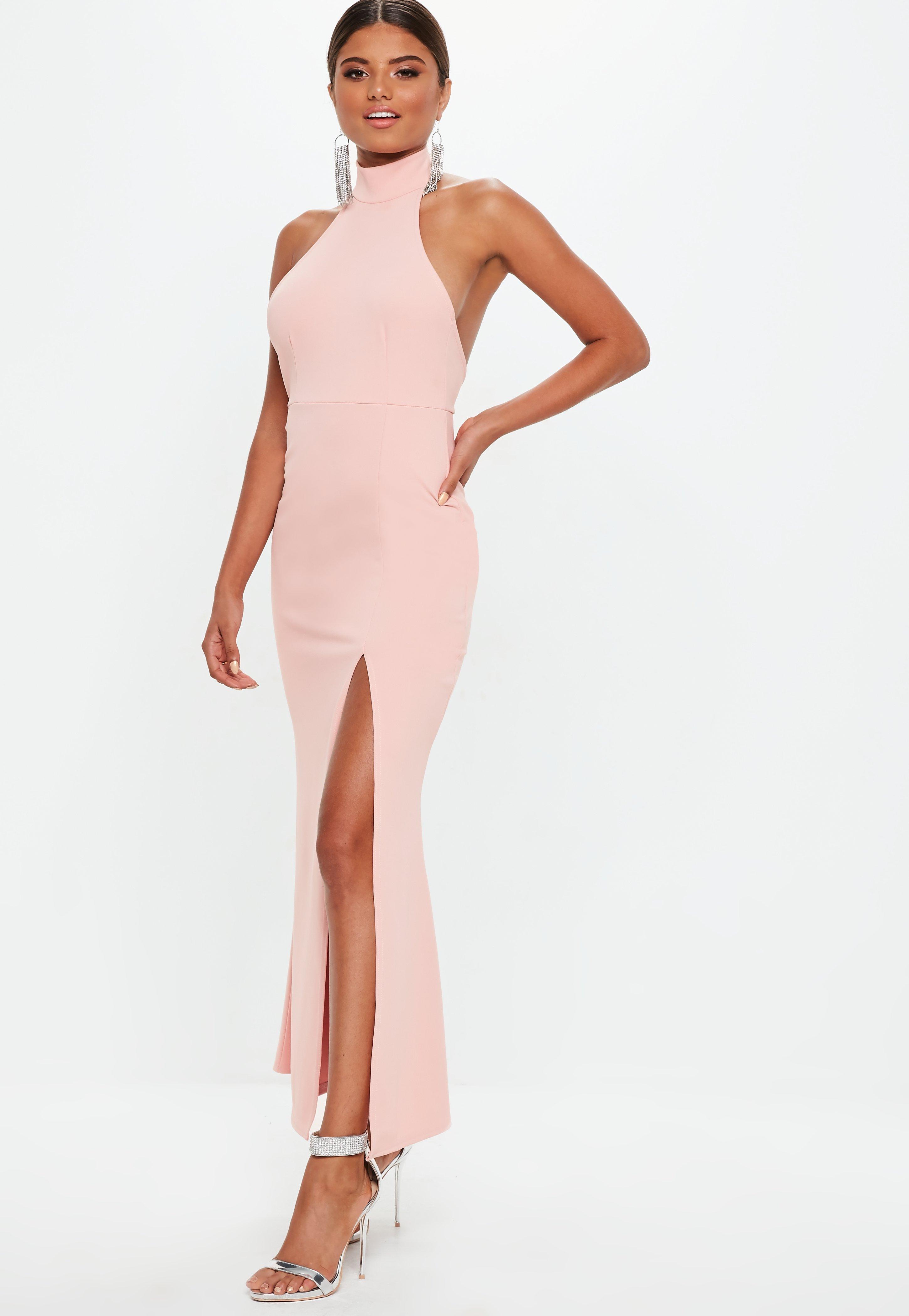 6fa528ed9028 Petite Blush Choker Maxi Dress   Missguided