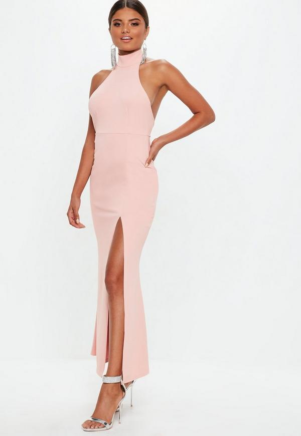 Petite Blush Choker Maxi Dress