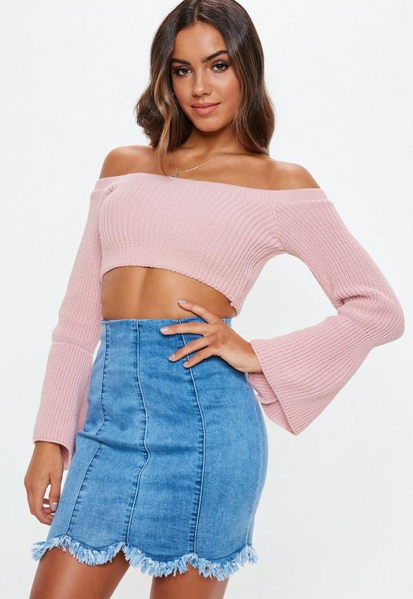Petite Pink Bardot Cropped Knitted Top