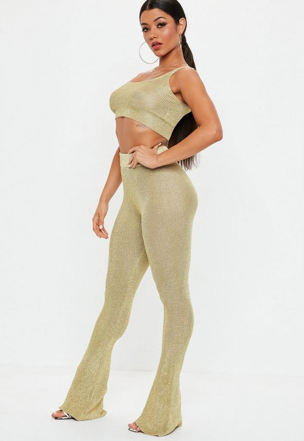 Petite Gold Metallic Knitted Flared Pants