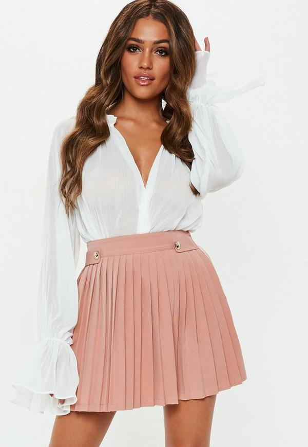 Petite Nude Pleated Military Button Mini Skirt