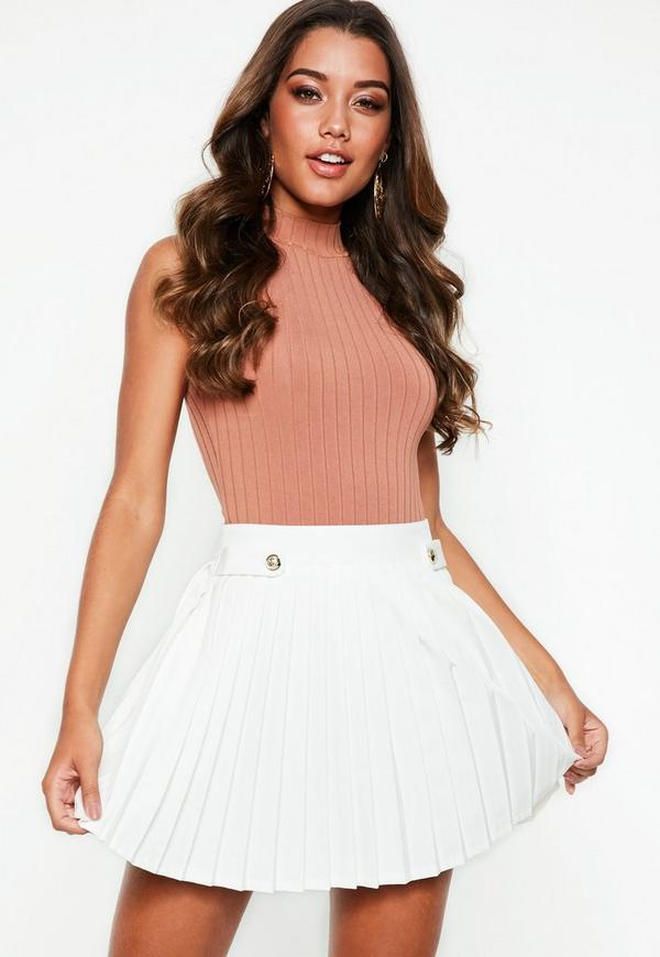 Petite White Pleated Military Button Mini Skirt