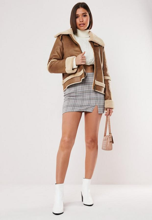 petite brown crop zip aviator jacket